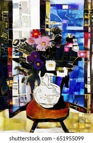 Still life with a bouquet in a vase. Alternative reproductions of famous paintings of Henri Matisse. Executed in oil on canvas with elements of acrylic painting. There are styles of Picasso.