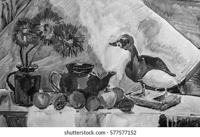 Still life composition illustration with a teapot, flowers, fruits and stuffed duck. Black and white