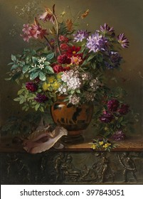 Still Life with Flowers in a Greek Vase: Allegory of Spring, by Georgius Jacobus van Os, 1817, Dutch painting, oil on canvas