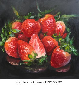 Still life with fresh strawberry on black background. Original artwork, oil on canvas painting