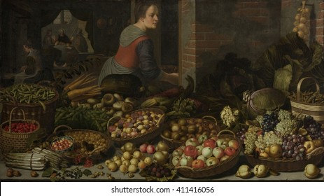 Still Life with Fruit and Vegetables, with Christ at Emmaus, by Floris van Schooten, 1630. Dutch painting, oil on canvas. Two girls at work in a kitchen where abundant vegetables and fruit are displa