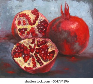Still life with garnets, with seeds, on gray background, oil painting on canvas, original artwork