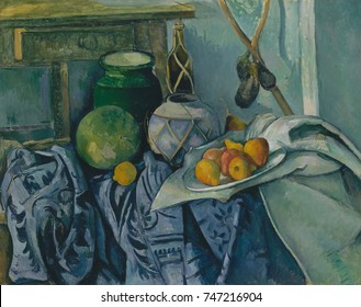 Still Life with a Ginger Jar and Eggplants, by Paul Cezanne, 1893-94, French Post-Impressionism. The artist relaxed traditional rules of perspective, and integrated different visual viewpoints within