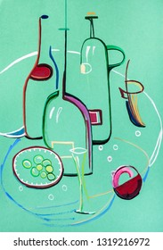 Still life with glass bottles on green background in modern style