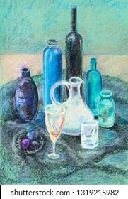Still life with glass jug on black cloth