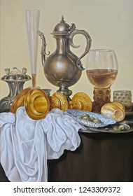 Still life with an old jug .  In the style of ancient Dutch masters.  Oil canvas 2017