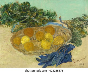 Still Life of Oranges and Lemons with Blue Gloves, by Vincent van Gogh, 1889, Dutch Post-Impressionist painting, oil on canvas. The richly expressive paint application evokes the nubby waxen skin of
