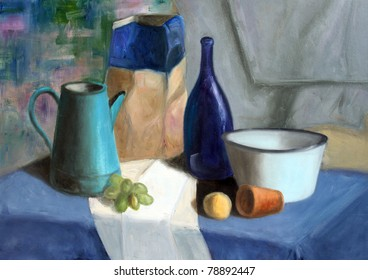 Still life painting of bottle, cornet, grapes, bowl and mandarin