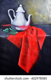 Still life painting composition with teapot and cloth