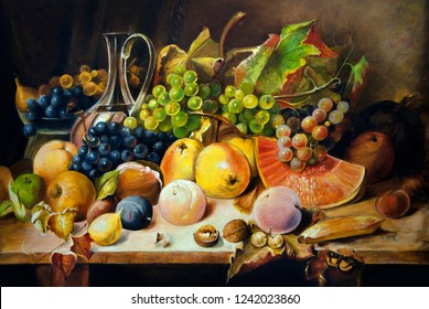 Still life with peaches and grapes. Oil painting