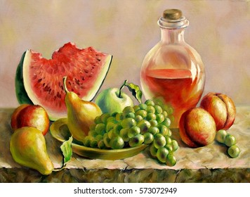 Still life with peaches and watermelon, oil on canvas