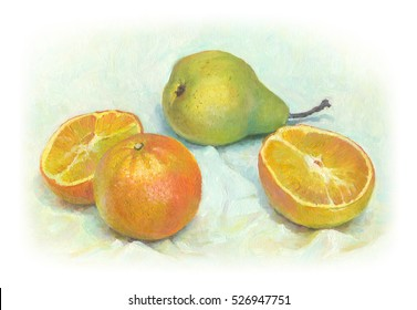 Still life with pears and oranges, painted with oil paints