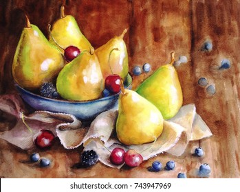 Still life of ripe yellow juicy pears, blackberries, blueberries and cherries, lying on a wooden surface in a blue cup, decorated with a cloth. Painted with watercolor hands