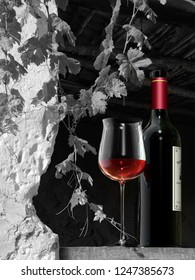 still life showing a glass end a bottle of red wine in a rural scene - 3D rendering.
