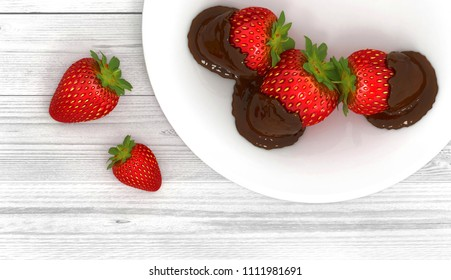 Still life with strawberries in chocolate on a white plate. 3D illustration.