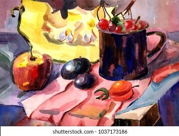 still life watercolor vegetables and fruits cherries apple plum pumpkin