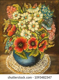 Still Life with WildFlowers in vase (oil on canvas)