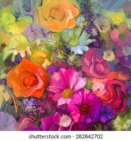 Still life of yellow and red color flowers .Oil painting a bouquet of rose,daisy and gerbera flowers . Hand Painted floral Impressionist style.