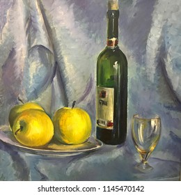 Still-life image of fruits. Realistic oil painting on canvas. Fruits are beautifully arranged, composition on a round tray. Three yellow apples, bottle with red vine, clear glass, draped white cloth
