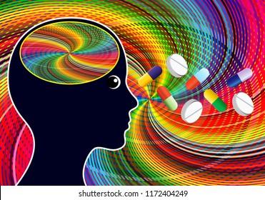 Stimulant drugs like Amphetamines. Euphoric feeling after taking psychoactive substances like speed or nootropic pills
