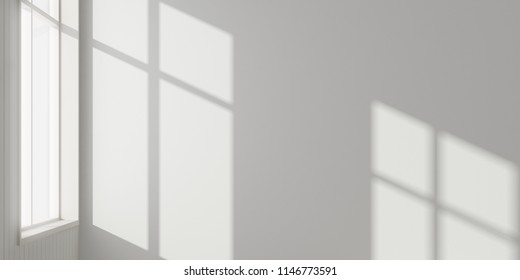 Stimulate scene of white empty room with sun light cast shadow on the laminate wood wall and plank floor,Perspective of minimal architecture. 3D rendering