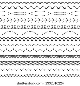 Stitch lines. Stitched seamless pattern threading borders sewing stripe fabric thread zigzag edges sew embroidery textile concept