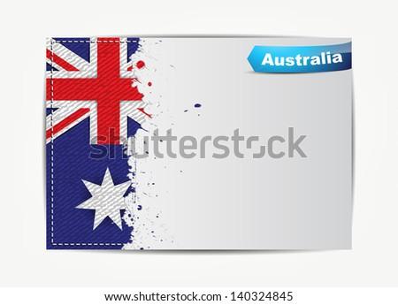 Stitched Australia Flag Grunge Paper Frame Stock Illustration ...