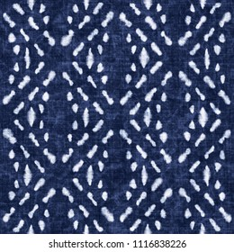 Stitched Geometric Ornament Indigo-Dyed Effect Textured Background. Seamless Pattern.
