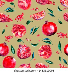 stitched pattern with pomegranate and green leaves