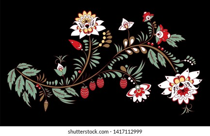 stock  abstract  flower and wave, doodle floral bouquet. oriental or arabic, russia textile design. template for card. banner