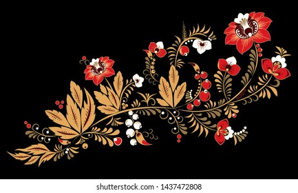 stock  abstract red flower and gold leaf, doodle ornament. oriental or arabic, russia art background. template for card. banner