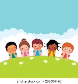 Stock cartoon illustration of a group of happy children boys and girls lying on the grass/Group of happy children boys and girls lying on the grass/Stock cartoon illustration