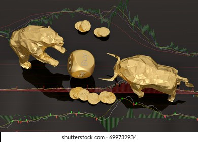 Stock concept gold Bear and bull with dices on stock chart.3D illustration.