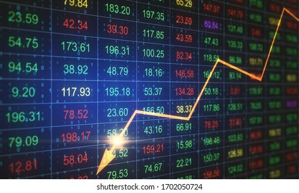 Stock crash recession chart with yellow arrow on screen. Business crisis concept. Double exposure. 3D Rendering