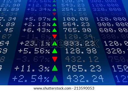 Stock exchange market display panel