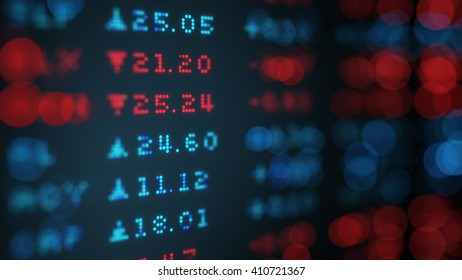Stock exchange rates data board. Shallow DOF. Computer generated 3D illustration