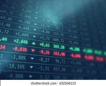 Stock exchange screen - Financial market growth or loss - Gdp growth