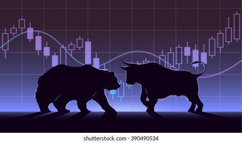Stock exchange trading banner. The bulls and bears struggle. Equity market concept illustration. Modern flat design.