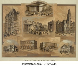 Stock exchanges in New York, Paris, London, Chicago, Hamburg, Frankfort, Berlin, and Brussels as they appeared in 1886.