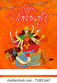 "stock illustration of greeting card saying ""Happy navaratri"", worship of hindu godess durga maa or kali ma"