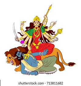 "stock illustration of greeting card saying ""Happy navaratri"", worship of hindu godess durga maa or kali ma"