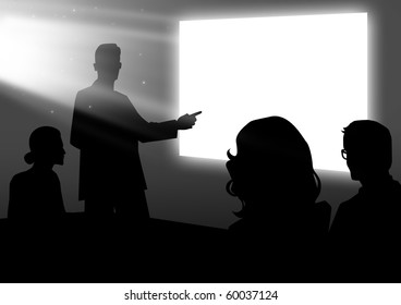 Stock illustration of people having a meeting