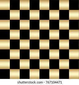 Stock Illustration - Seamless Checkered Pattern, Golden Black Pattern, 3D Illustration, Black Golden Background.