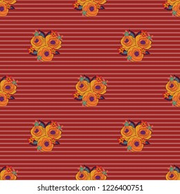 Stock illustration. Seamless pattern of abstrat rose flowers and leaves in red, pink and orange colors. Vintage style.