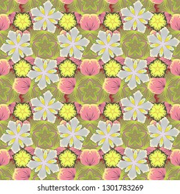 Stock illustration. Seamless pattern of abstrat flowers in pink, gray and yellow colors. Vintage style.