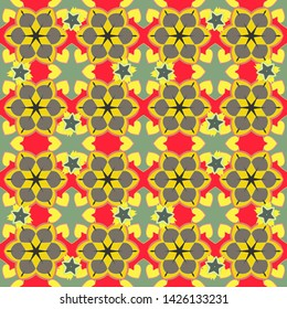 Stock illustration. Seamless pattern of abstrat flowers in gray, red and yellow colors. Vintage style.