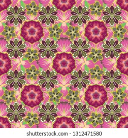 Stock illustration. Vintage style. Seamless pattern of abstrat flowers in pink, brown and purple colors.