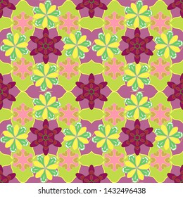 Stock illustration. Vintage style. Seamless pattern of abstrat flowers in yellow, pink and green colors.