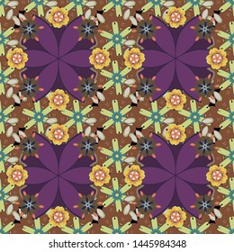 Stock illustration. Vintage style. Seamless pattern of abstrat flowers in brown, green and purple colors.