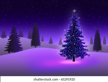 Stock image of Christmas tree with colorful lights on snowy hills